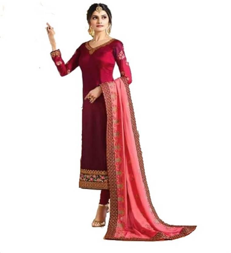 1b8835e2e4 D.S.FABRICS Georgette Embroidered Semi-stitched Salwar Suit Dupatta ...