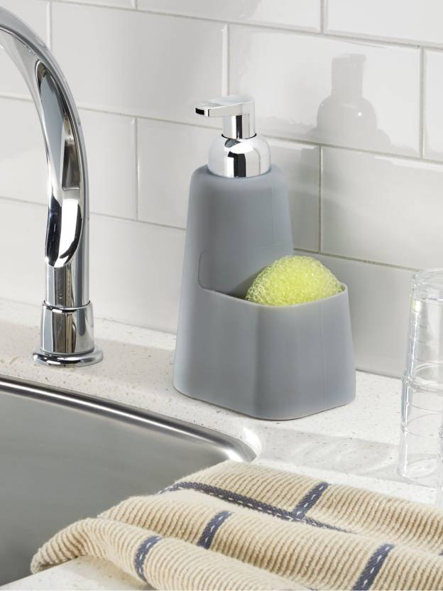 Interdesign Lineo Kitchen Foaming Soap Dispenser Pump And Sponge Caddy Organizer 473 Ml Conditioner Foam