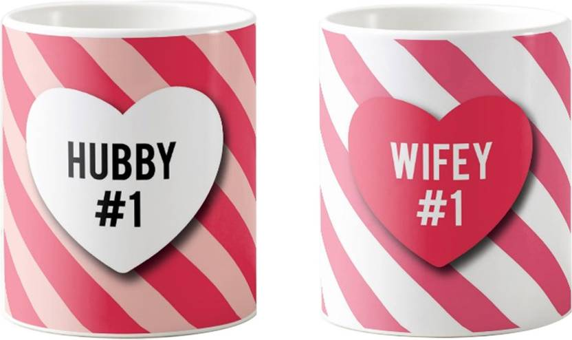 Red Buzz Number 1 Hubby Wifey Wedding Anniversary Gifts For