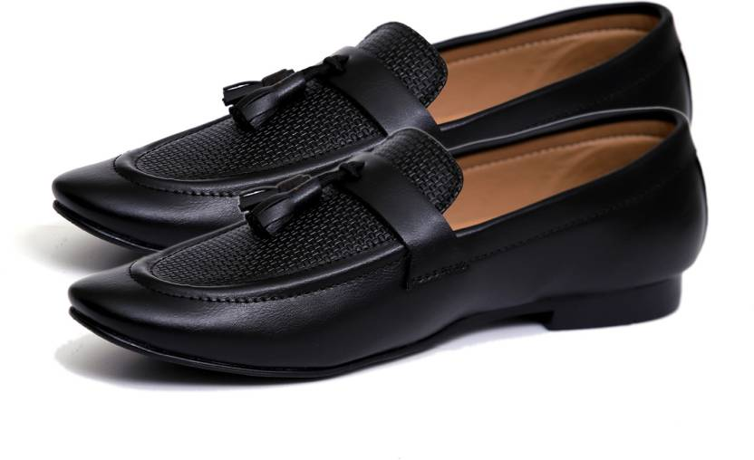fe30302d09c Hush Berry Classic Handmade Tassel Office Causal Loafer Shoes Synthetic  Leather Loafers For Men (Black)