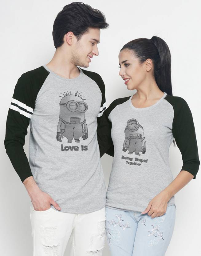 5c925d5a DUO COUPLE Graphic Print Men & Women Round Neck Grey T-Shirt - Buy DUO  COUPLE Graphic Print Men & Women Round Neck Grey T-Shirt Online at Best  Prices in ...
