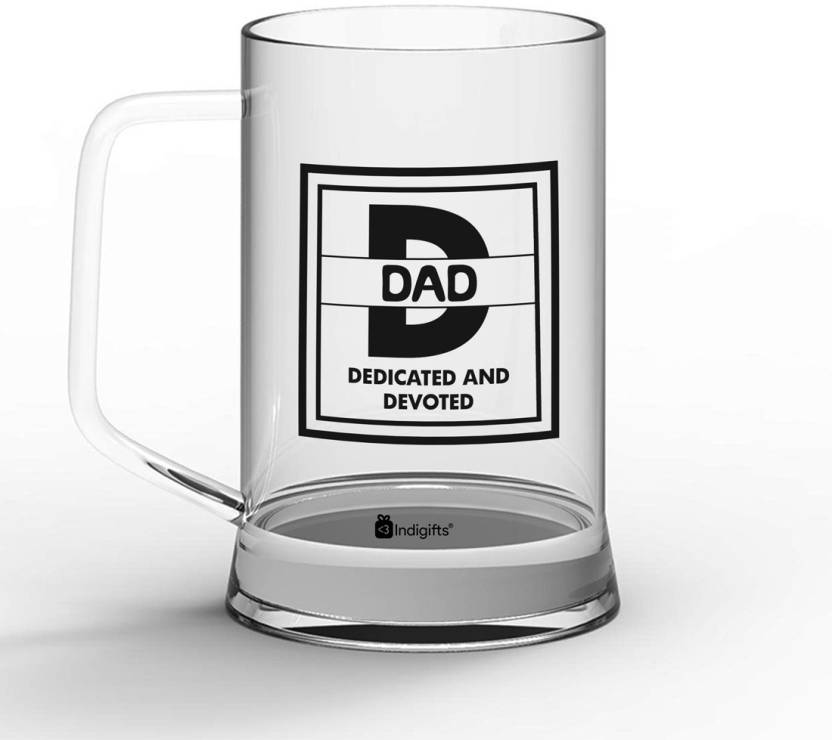 Indigifts Gift For Papa Fathers Birthday Dad Gifts Parents Day Dedicated And Devoted Quote Glass 330 Ml Clear