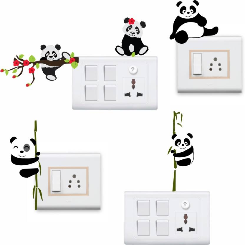 5967fc4641e StickersYard Medium Funny Panda Wall Sticker   Decal Switch Board Sticker  Set Of 4 Sticker (Pack of 4)