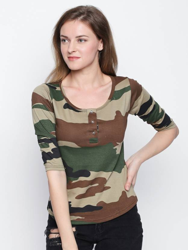 b9c9c1ea8 The Dry State Military Camouflage Women Round Neck Multicolor T-Shirt - Buy  The Dry State Military Camouflage Women Round Neck Multicolor T-Shirt Online  at ...