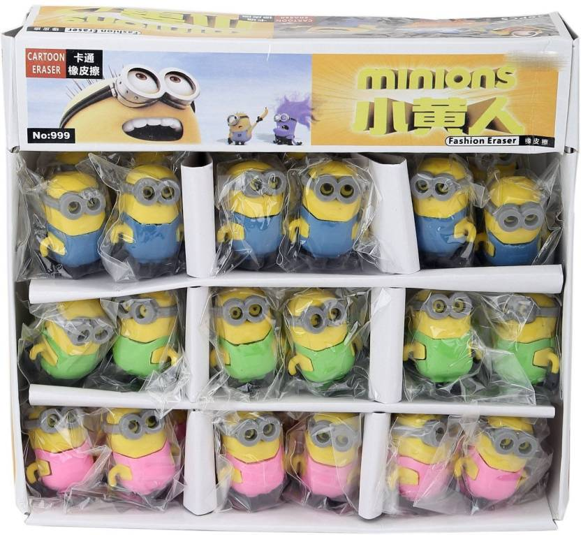Grab Offers 3D Minion Erasers For Kids Gift Options Birthday Return Gifts Theme Party Non Toxic Eraser Set Of 18 Multicolor