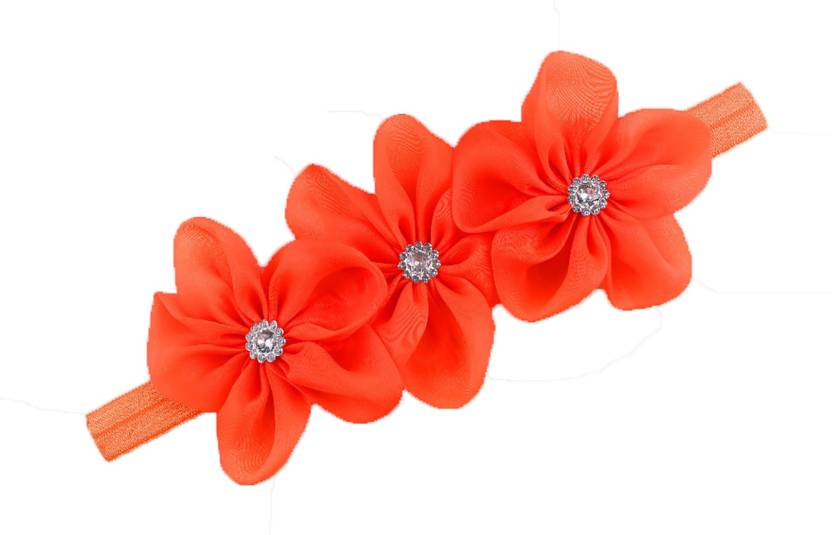 Ziory Orange 3 Flower hairband Headband baby Girls toddler girls Pearl Rose  Flower Hair Band Headband Ribbon Elasticity Hair Accessories Headwear for  Baby ... c19ab734b37