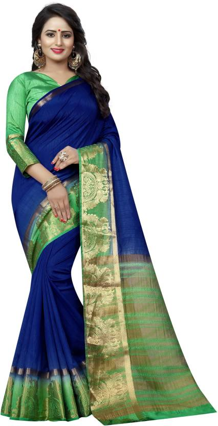 415b6d11ab31ee Buy SATYAM WEAVES Self Design Kanjivaram Cotton Silk Dark Blue ...