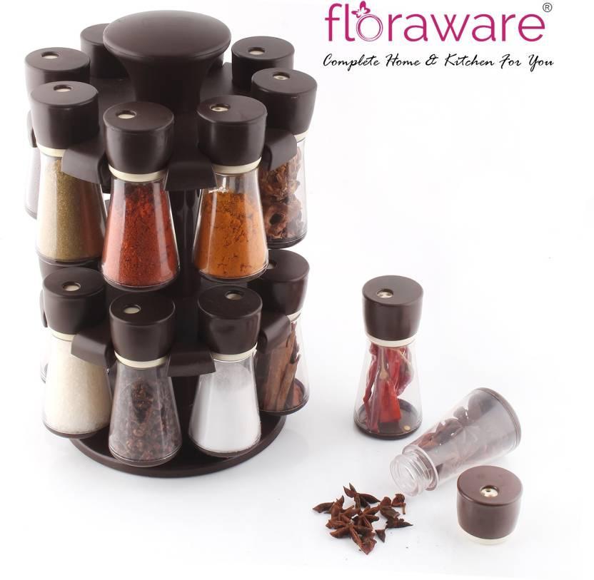 db41e6f173eb Floraware Dark Brown 16-Jar Revolving Spice Rack Masala Box Condiment Set