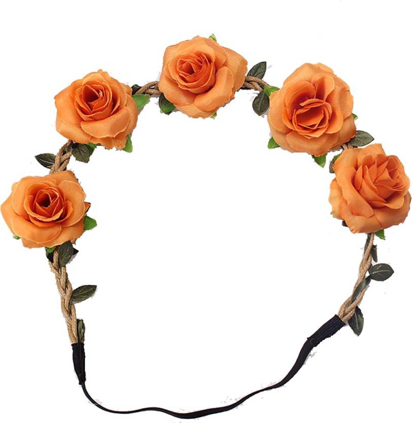 Ziory Orange Fashion Stylish Rose Flower Headband Headwear Women Girl  Elastic Hairbands Korean Floral Hair Bands e6cc4671ce3