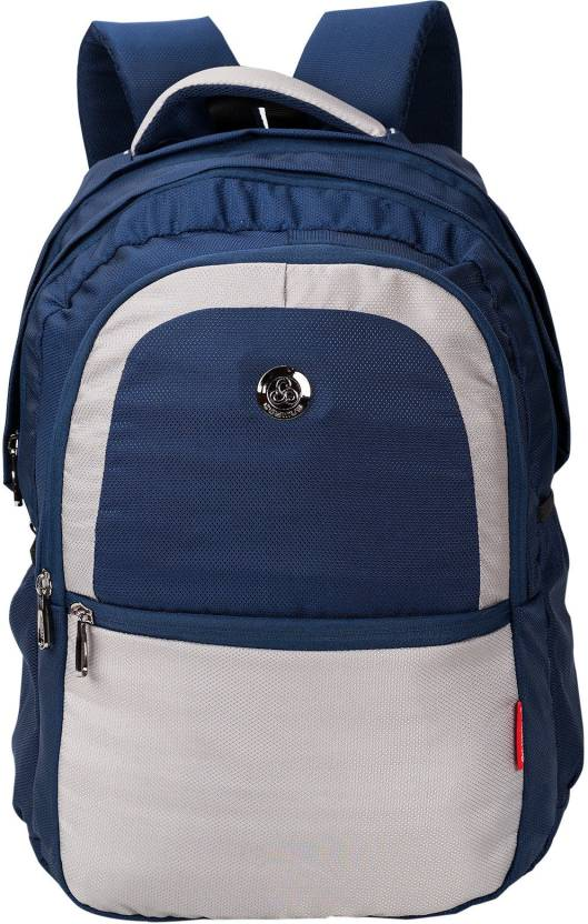 57632a4a11 Cosmus New Castle Light Weight Large School Bag Blue & Grey Polyester 36  Litre Backpack with Rain cover 36 L Backpack (Blue, Beige)