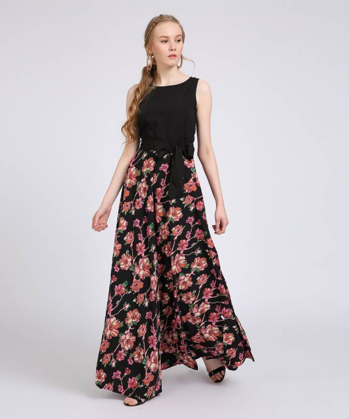 8cf1d285c Tokyo Talkies Women s Maxi Multicolor Dress - Buy BLACK Tokyo Talkies  Women s Maxi Multicolor Dress Online at Best Prices in India
