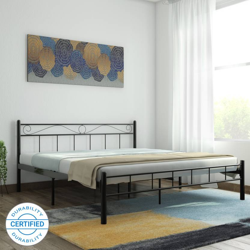 FurnitureKraft London Metal King Bed Finish Color   Black