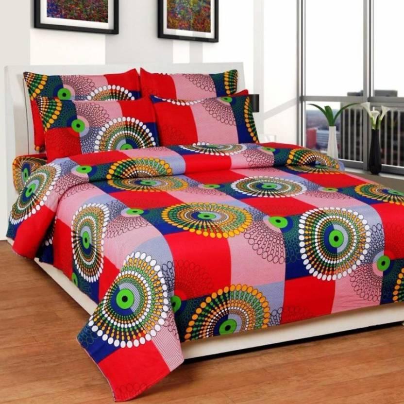 Decor Hut 144 TC Microfiber Double Self Design Bedsheet
