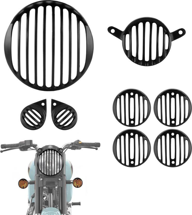 Autofy Metal Matte Finish Headlight Grill For Royal Enfield Bullet