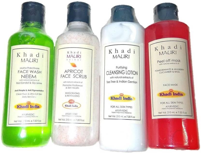 Khadi Mauri Herbal mini home facial kit Combo of Neem face wash+Apricot  scrub+Cleansing lotion+Peel off mask 800 ml
