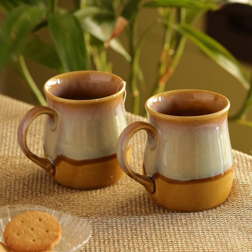 6d45e1fdac6 ExclusiveLane Dual Glazed Studio Pottery Tea & Coffee Cups Cum Milk Ceramic  Mug (360 ml, Pack of 2)