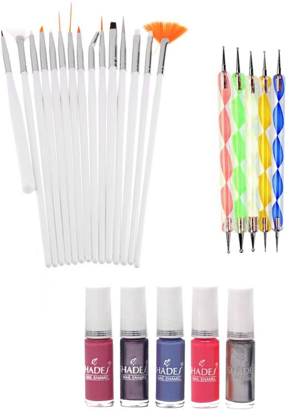 Store2508 Nail Art Brush Set & Dotting Tool Set with Free 5 Bottles ...