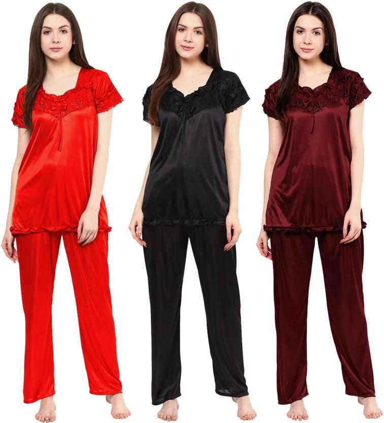 e7633c25d6 Boosah Women s Solid Multicolor Top   Pyjama Set Price in India ...