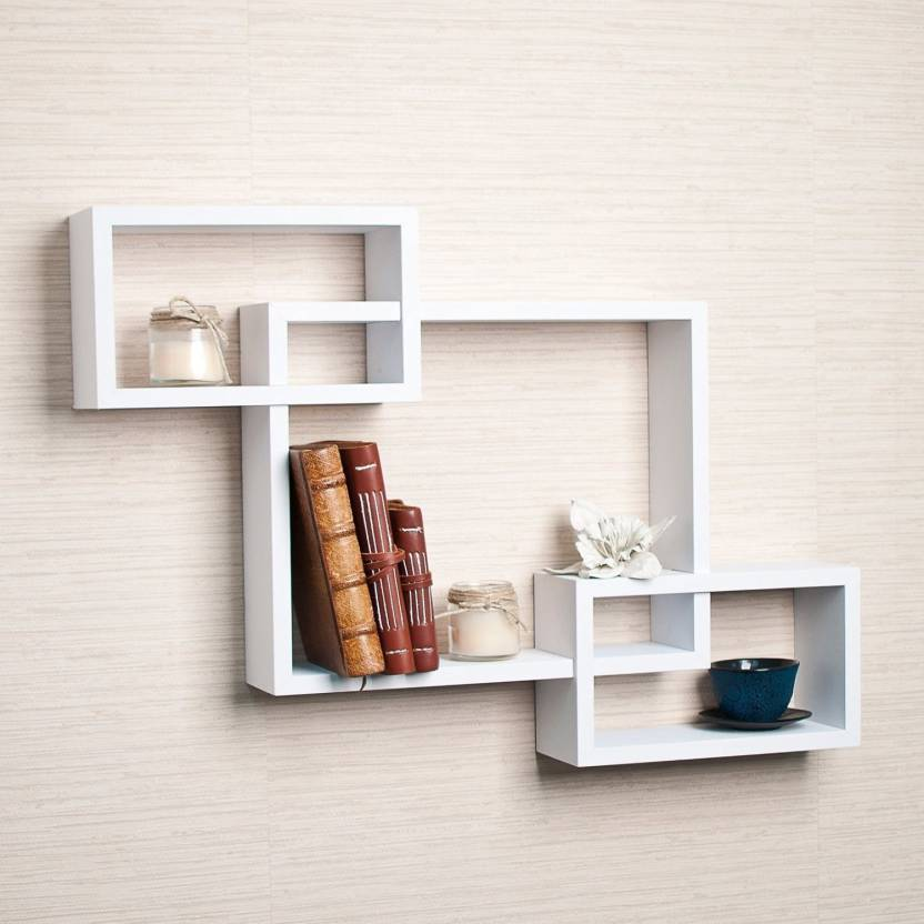 . DriftingWood Wooden Intersecting Wall Shelves For Living Room  White