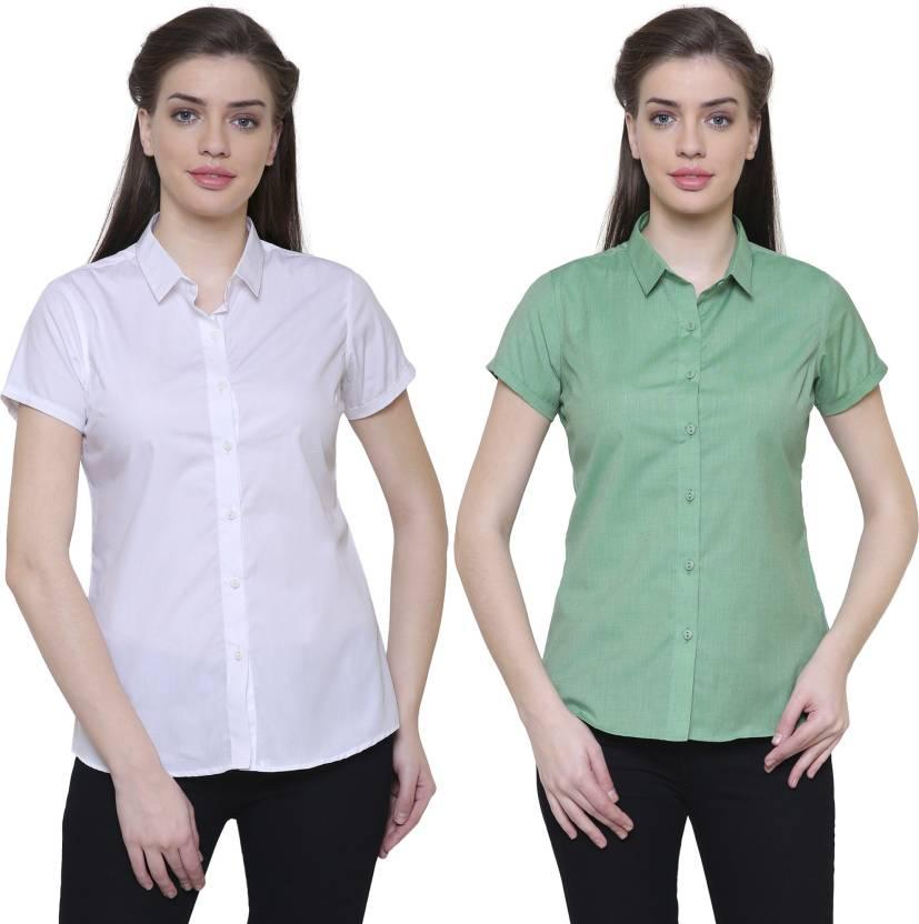 311e7196a9971 LEAF Women Solid Formal Shirt - Buy LEAF Women Solid Formal Shirt ...