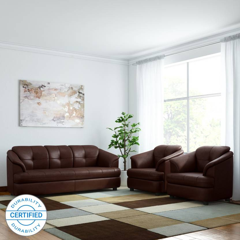 Gioteak Leatherette 3 1 1 Brown Sofa Set Price In India Buy