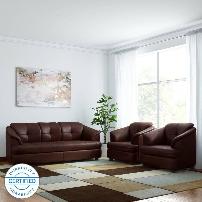 Gioteak Leatherette 3 1 1 Brown Sofa Set Price In India Buy