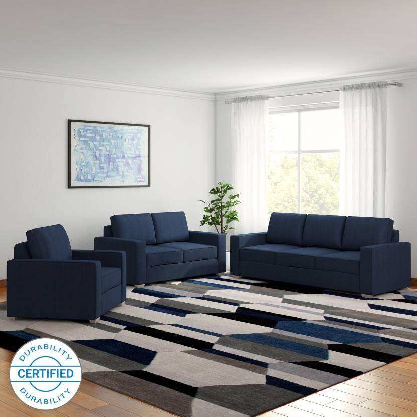 Furny Apollo Superb Fabric 3 2 1 Blue Sofa Set