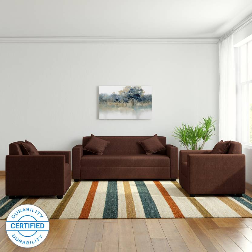 Westido Amrind Fabric 3 1 1 Brown Sofa Set Price In India Buy