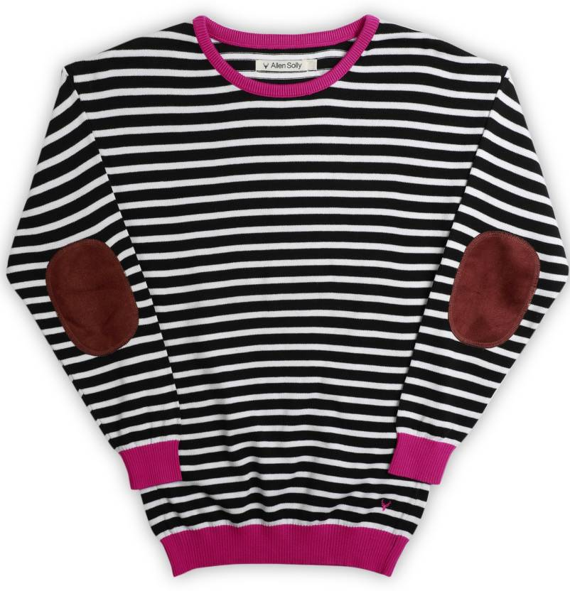 ad7ae5a2a Allen Solly Junior Solid Round Neck Casual Girls Black Sweater - Buy ...