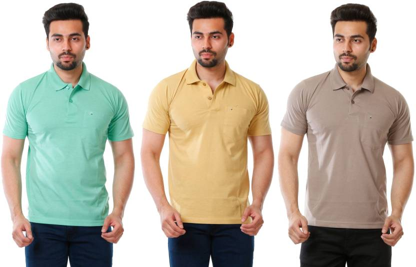 cdfcee3be41 MOUDLIN Solid Men s Polo Neck Yellow
