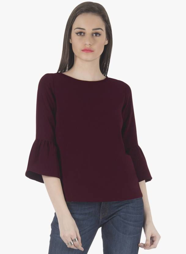 1945b2cff0f FabAlley Casual 3 4th Sleeve Solid Women Red Top - Buy FabAlley ...