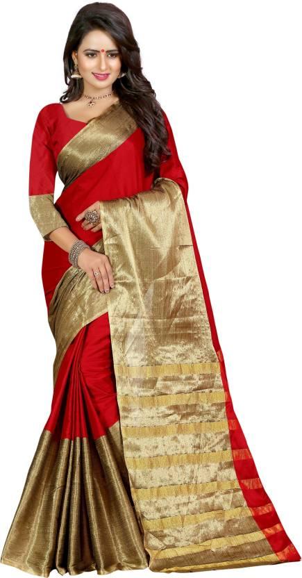 cd260da0c6 Buy Creative Work Plain Kanjivaram Cotton, Art Silk Red, Gold Sarees ...