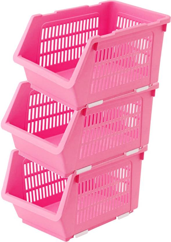 House Of Quirk Plastic Kitchen Vegetable Fruit Stackable Basket Storage Stacking Rack And Bins 35 24 20 Pink Set 3 Pack