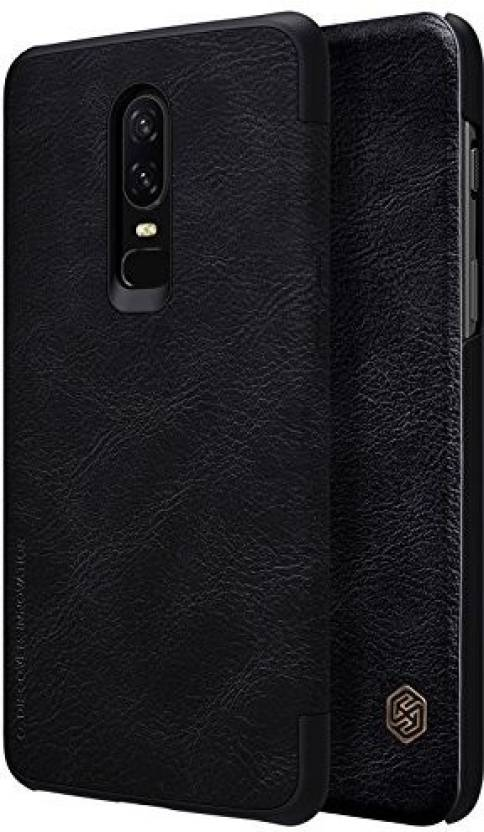 buy popular f8991 1ad2a Nillkin Flip Cover for OnePlus 6 Qin Leather Flip Smart Sleep ...