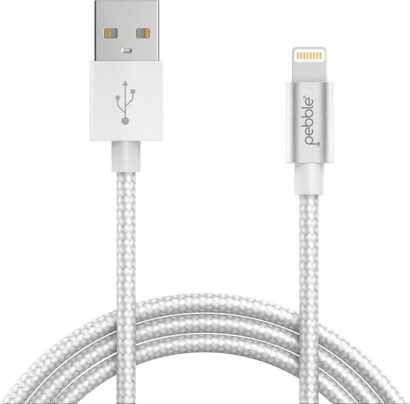 805d301885072a Pebble Rapid Premium Nylon Braided Lightning Cable for iPad/iPhone 5/5S/6/6S /7/7Plus/8/10 with Fast Charging Upto 2.4 A & High Speed Data Sync  Lightning ...