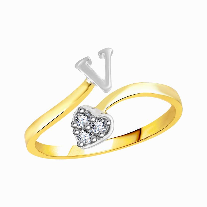 VK Jewels Initial V Diamond Studded Heart Alloy Brass Cubic Zirconia Gold