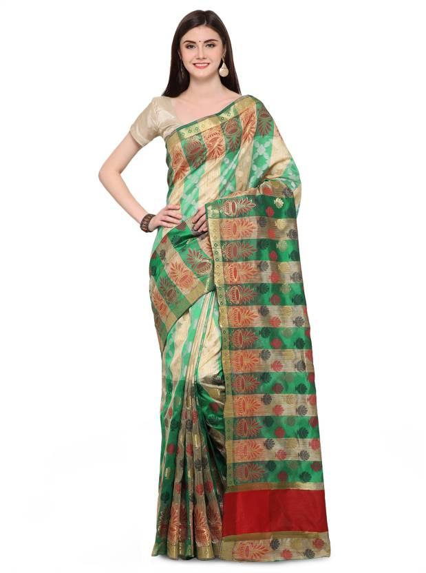 f1b731449a799e Buy Creative Work Woven Banarasi Banarasi Silk Green Sarees Online ...