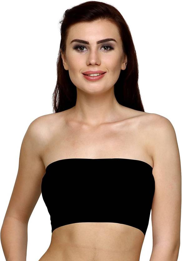 214966eba31d4 Shopolica by Seamless Strapless Padded Tube bra - Imported Soft Fabric -  Full Cup   Free Size from 28 To 38 Women Tube Non Padded Bra (Black)