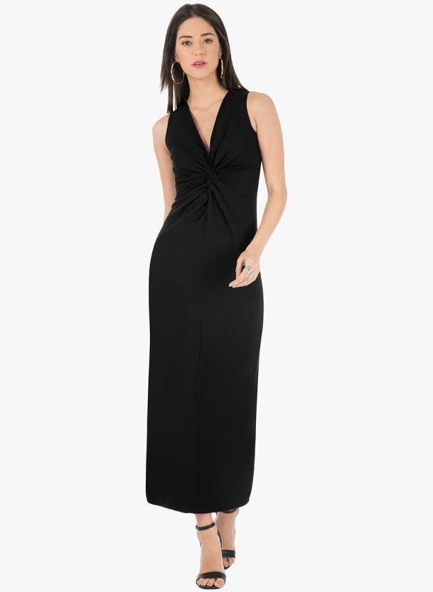 0bf89b3247c FabAlley Women Maxi Black Dress - Buy FabAlley Women Maxi Black Dress Online  at Best Prices in India