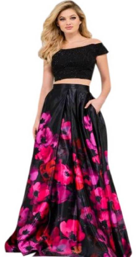 41c435cffb4e88 Mohnish Fashion Floral Print Semi Stitched Lehenga   Crop Top - Buy ...