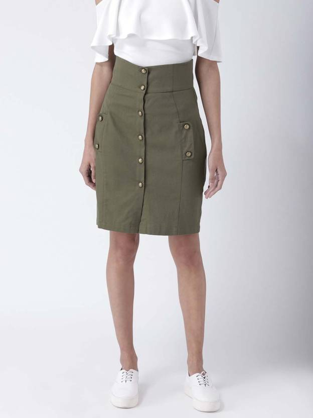 d5ce5f9dbe6f Street 9 Solid Women Pencil Green Skirt - Buy Street 9 Solid Women Pencil  Green Skirt Online at Best Prices in India