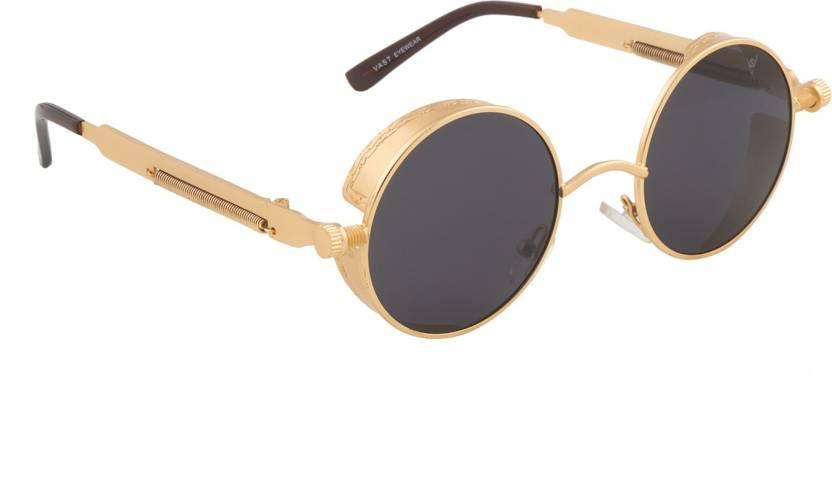 1ebe9c7a0aaa8 Buy Vast Round Sunglasses Black For Men   Women Online   Best Prices ...