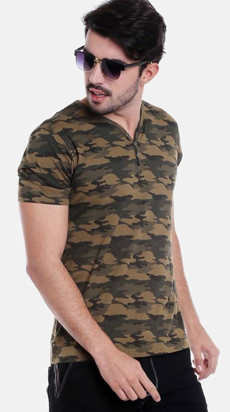 6bd23d236 FBB - Buffalo Military Camouflage Men Henley Green T-Shirt - Buy FBB -  Buffalo Military Camouflage Men Henley Green T-Shirt Online at Best Prices  in India ...