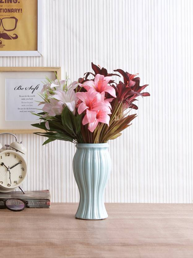 Fourwalls Artificial Lily Flower Bunches For Home Decor 30 Cm Tall 6 Branches Set Of 5 Pink 12 Inch Pack