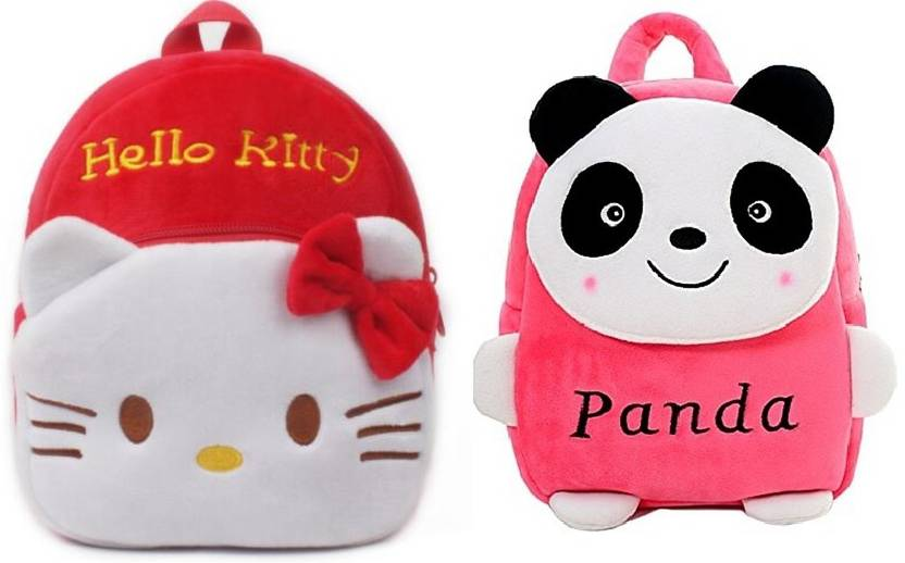 Frantic Red Hello Kitty and Pink Panda Velvet School Bag for Nursery Kids a8bed39609c34