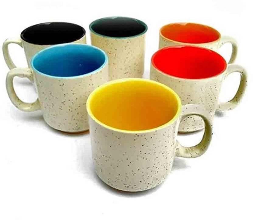 Jrp Mart Multicolor Tea Coffee Cups Mugs Set Of 6 Microwave Safe Ceramic Pack 4