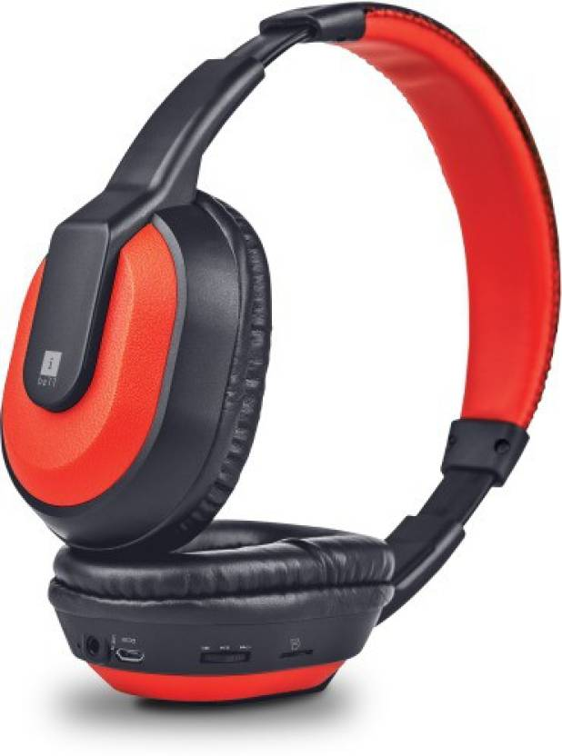 Iball Musi Tap Clarity Headsets with BT / FM / MicroSD Playback Bluetooth Headset Red, Black, On the Ear