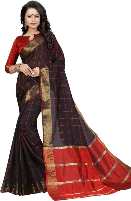 d3da92fe1d82aa Buy Lady Ethnic Plain Daily Wear Silk Black Sarees Online   Best ...