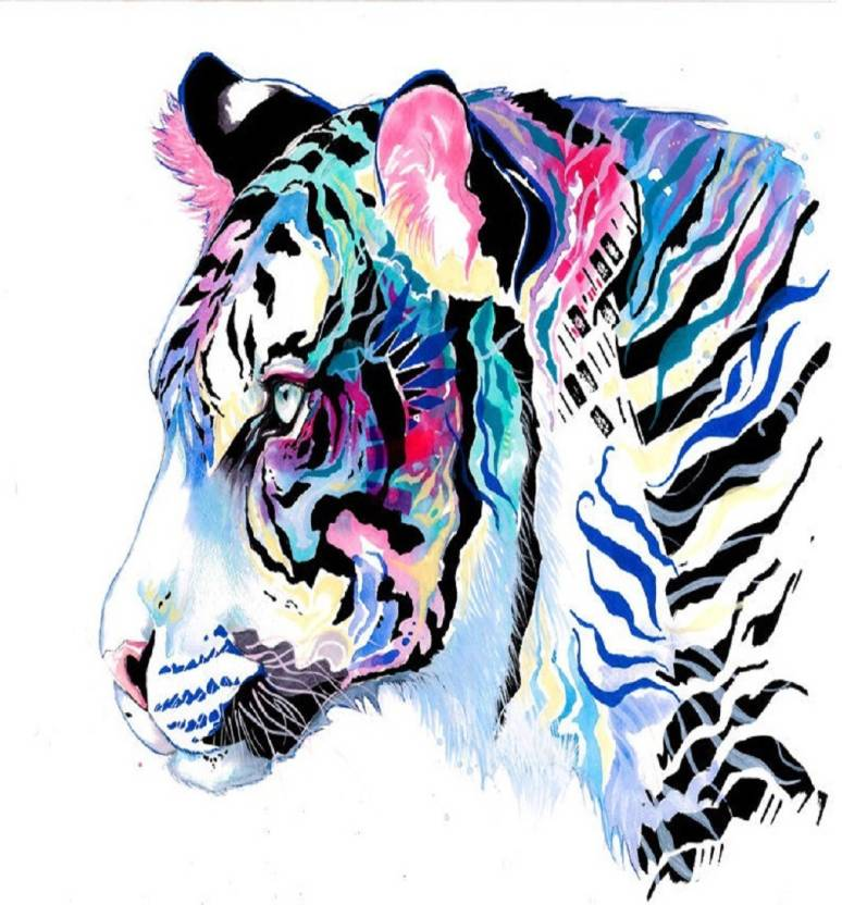 e09cbfa29e90 TOTAL HOME Medium Amazing Coloring Tiger Patch Iron On Transfer ...