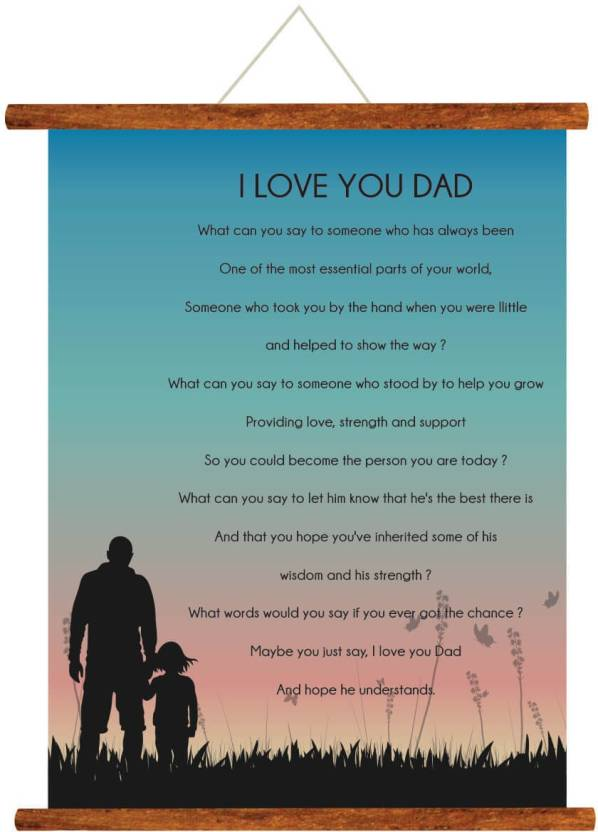 Giftsmate Fathers Day Greeting Cards I Love You Dad Message Scroll Card For Wall Hanging